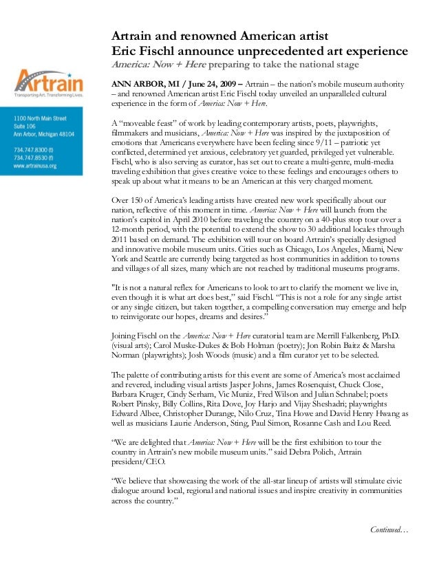 Artist Release Form Artrain And Renowned American Artist Eric