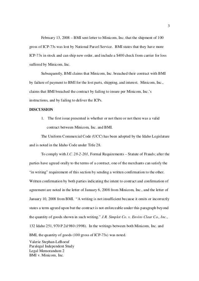Legal Memorandum BMI & Minicom 2