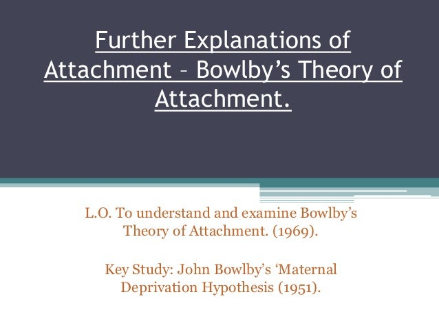 Further Explanations of Attachment – Bowlby's Theory of Attachment. L.O. To understand and examine Bowlby's Theory of Atta...
