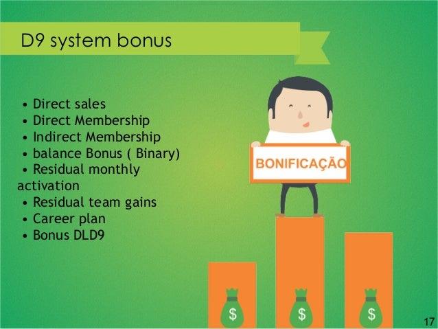 D9 system bonus • Direct sales • Direct Membership • Indirect Membership • balance Bonus ( Binary) • Residual monthly acti...