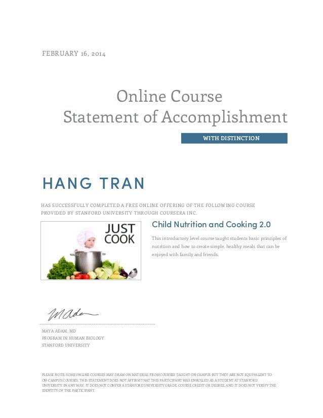 Hang Tran Child Nutritions And Cooking Certificate By Stanford Un