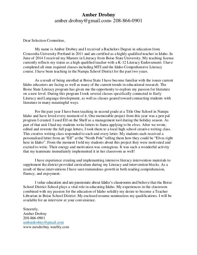 Cover Letter Intervention Teacher - Reading Specialist Cover ...