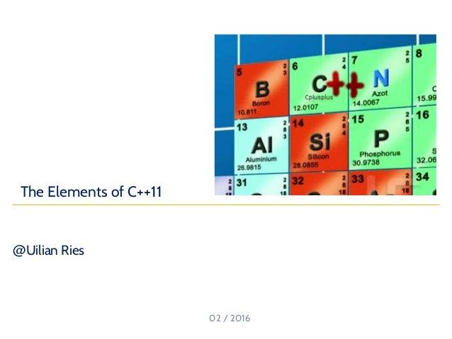 @Uilian Ries 02 / 2016 https://goo.gl/U0fZJa The Elements of C++11