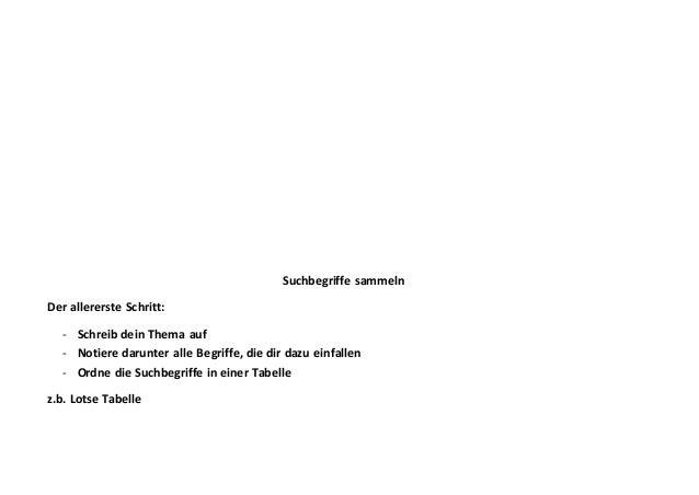 Suchbegriffe sammeln Der allererste Schritt: - Schreib dein Thema auf - Notiere darunter alle Begriffe, die dir dazu einfa...
