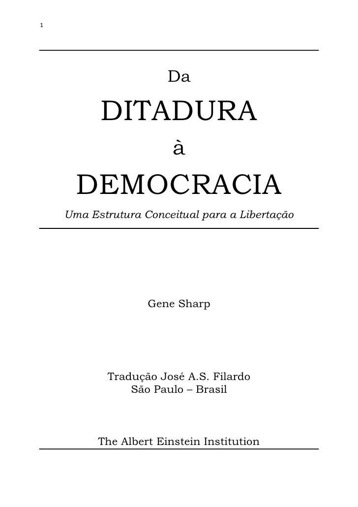 1                       Da          DITADURA                        à      DEMOCRACIA    Uma Estrutura Conceitual para a L...