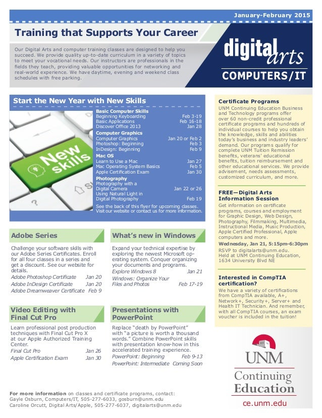 unmce digital arts and it january 2015 flyer