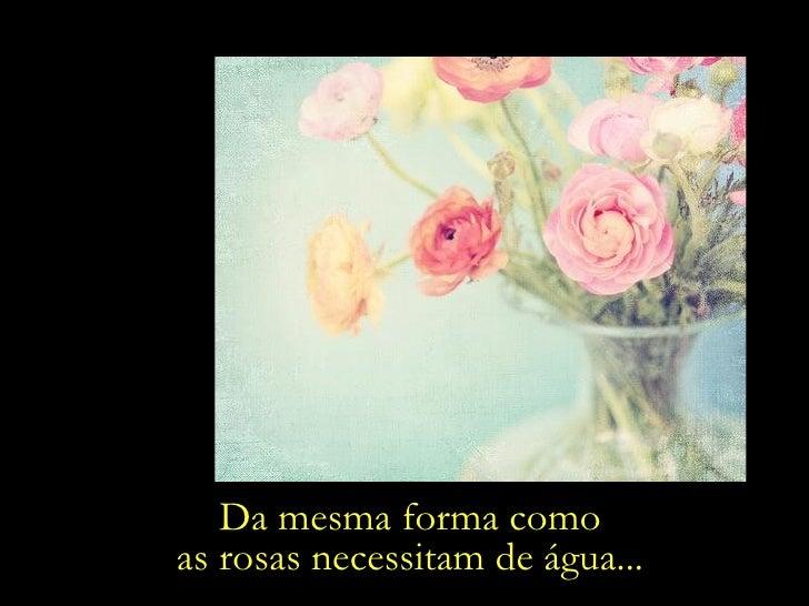 Da mesma forma como as rosas necessitam de água...