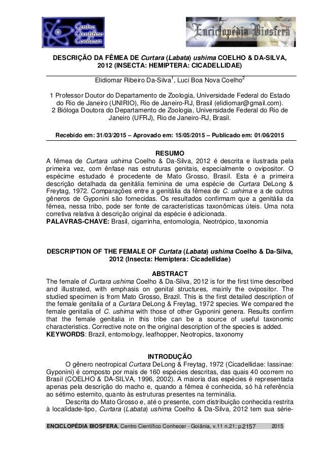 ENCICLOPÉDIA BIOSFERA, Centro Científico Conhecer - Goiânia, v.11 n.21; p. 20152157 DESCRIÇÃO DA FÊMEA DE Curtara (Labata)...