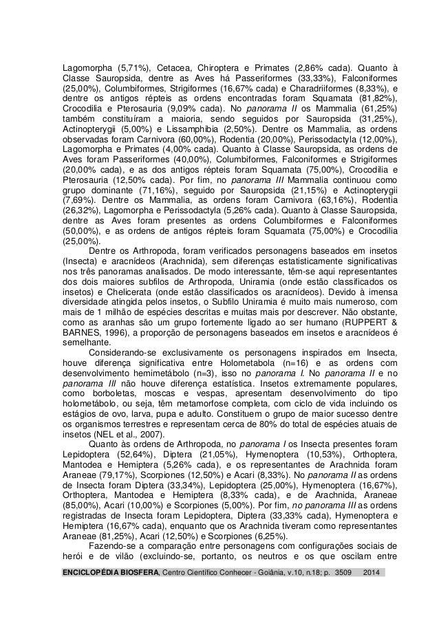 Lagomorpha (5,71%), Cetacea, Chiroptera e Primates (2,86% cada). Quanto à  Classe Sauropsida, dentre as Aves há Passerifor...