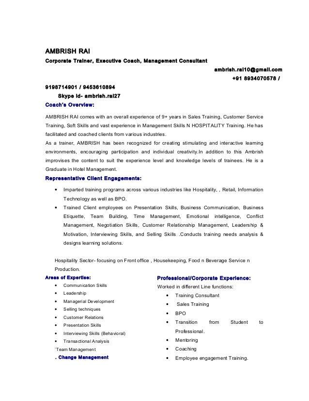 AMBRISH RAI Corporate Trainer, Executive Coach, Management Consultant  Ambrish.rai10@gmail.