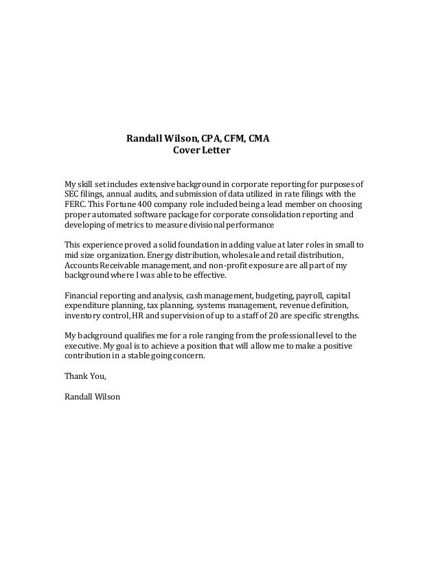 Randall Wilson Cover Letter