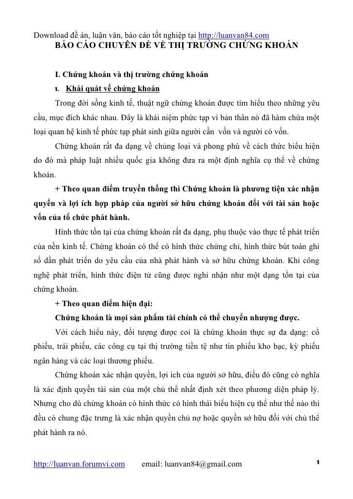 Download đề án, luận văn, báo cáo tốt nghiệp tại http://luanvan84.com      BÁO CÁO CHUYÊN ĐỀ VỀ THỊ TRƯỜNG CHỨNG KHOÁN    ...