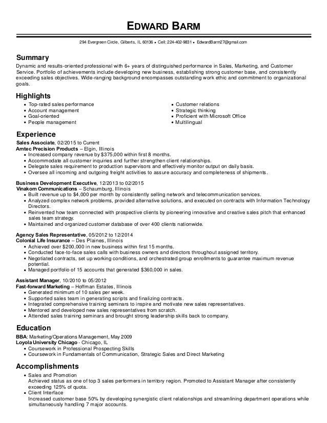 Resume Accomplishments Sales Associate Sales Associate Resume