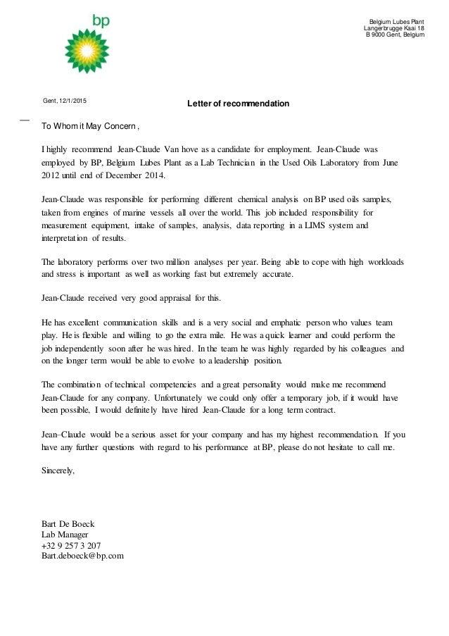 Aanbevelingsbrief Van hove Jean Claude Bart De Boeck