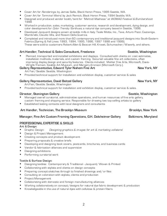 Art Sales Resume
