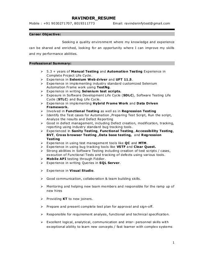 selenium resume