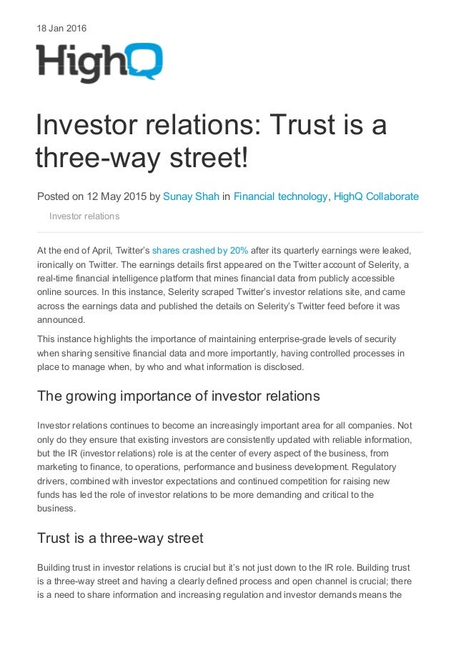 HighQBlog_Sunay Shah_Investor Relations_Trust is a three-way street -…
