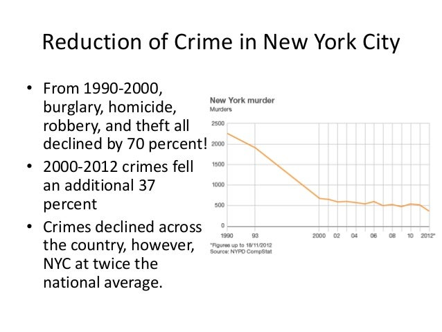 Reduction of Crime in New York City • From 1990-2000, burglary, homicide, robbery, and theft all declined by 70 percent! •...