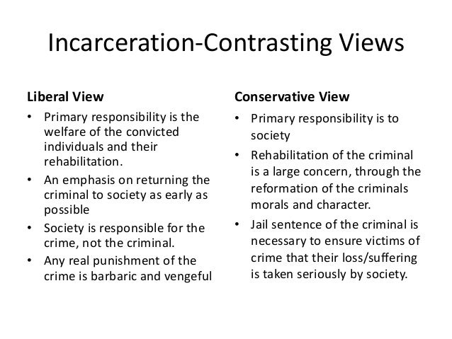 Incarceration-Contrasting Views Liberal View • Primary responsibility is the welfare of the convicted individuals and thei...