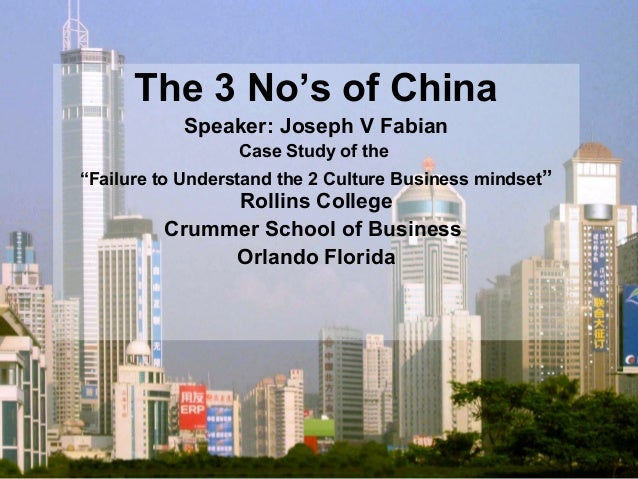 "The 3 No's of China Speaker: Joseph V Fabian Case Study of the ""Failure to Understand the 2 Culture Business mindset"" Roll..."