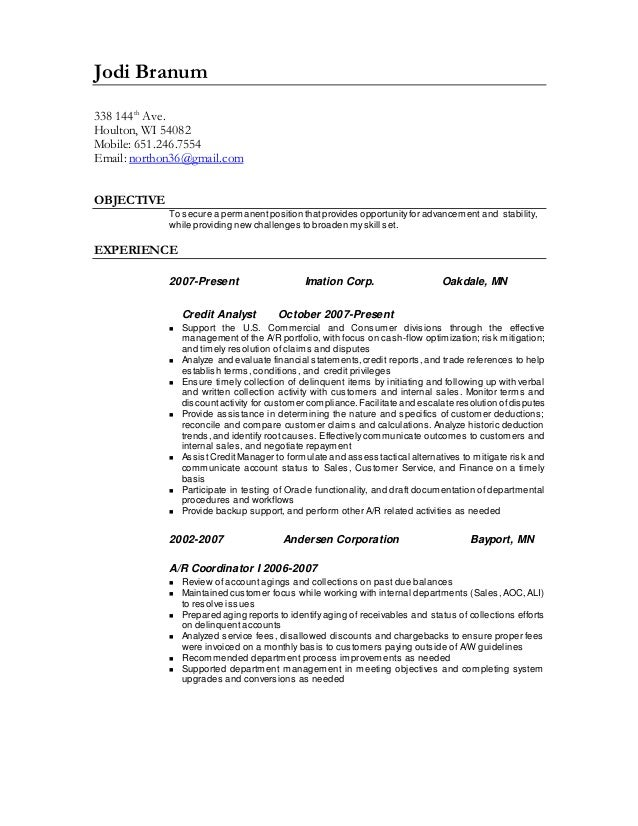credit and collections analyst resume