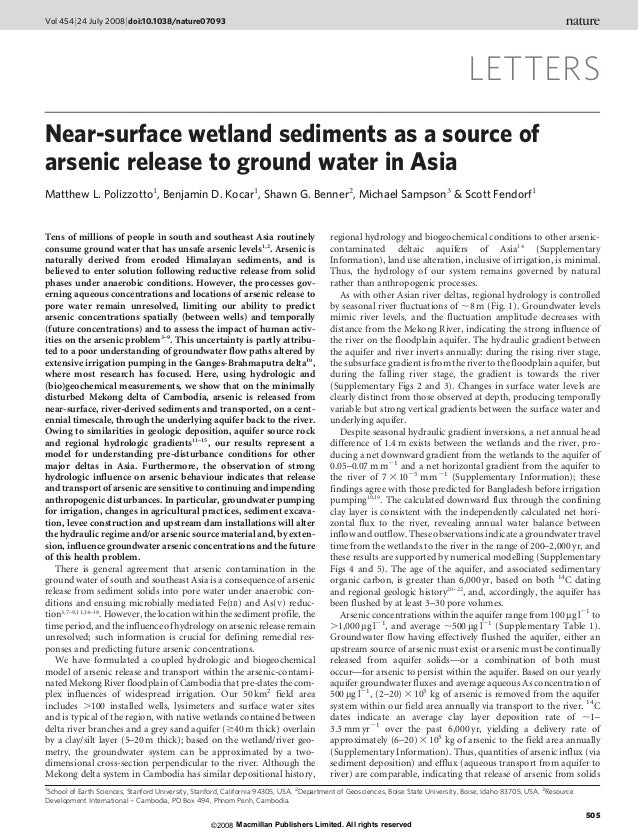 LETTERS Near-surface wetland sediments as a source of arsenic release to ground water in Asia Matthew L. Polizzotto1 , Ben...