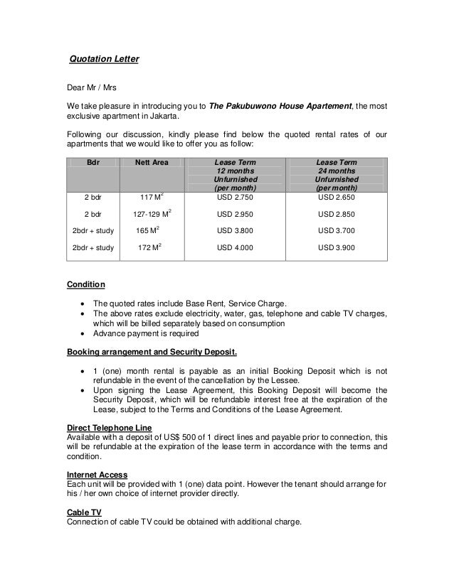Quotation Letter For 2 Bedroom Pakubuwono House Apt