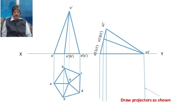 Drawing Lines Of Symmetry : Projection of pentagonal pyramid solid