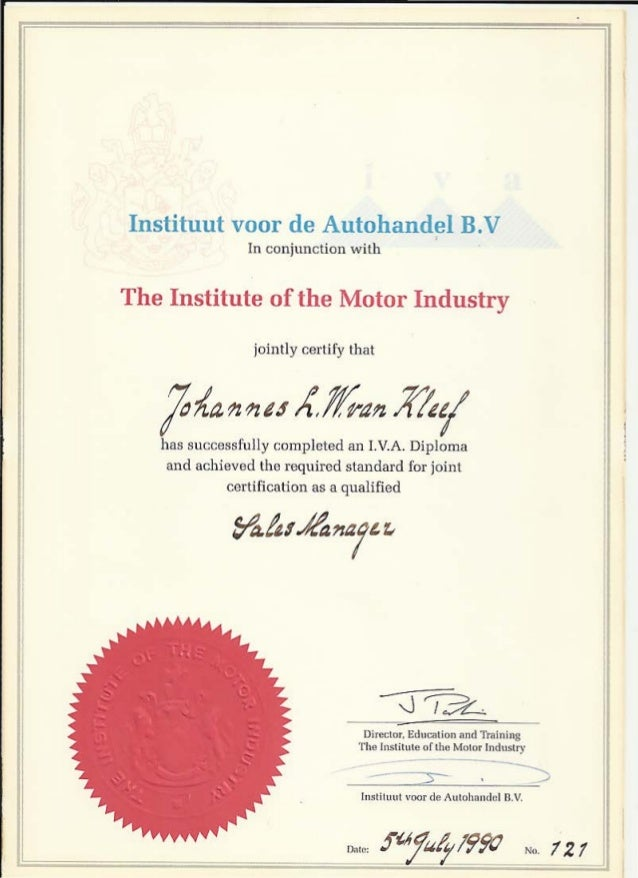 Hbo diploma institute of motor industry for Institute of the motor industry