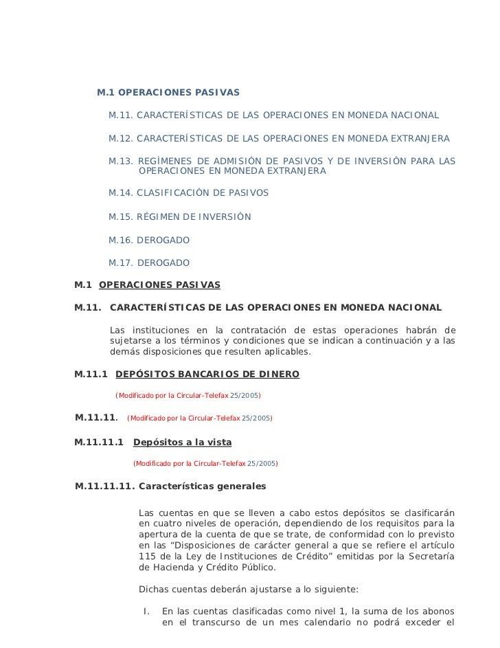 M.1 OPERACIONES PASIVAS      M.11. CARACTERÍSTICAS DE LAS OPERACIONES EN MONEDA NACIONAL      M.12. CARACTERÍSTICAS DE LAS...