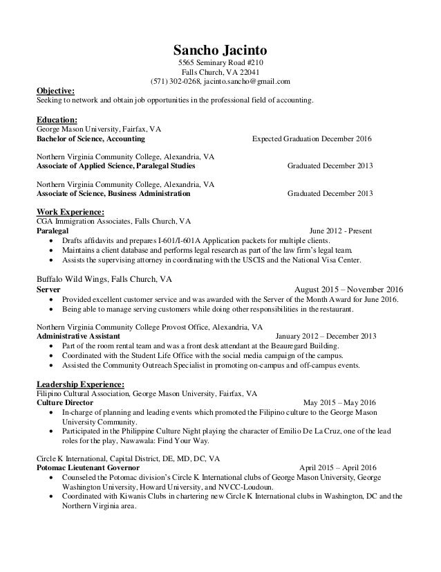 resume  accounting