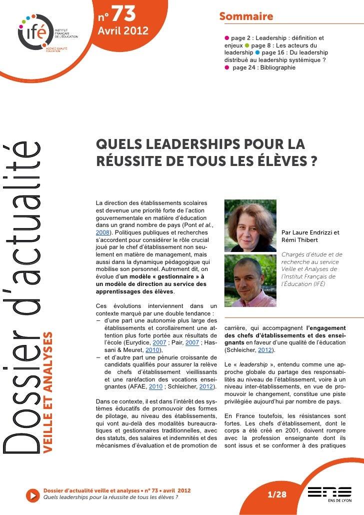 n°    73                                           Sommaire                                       Avril 2012              ...