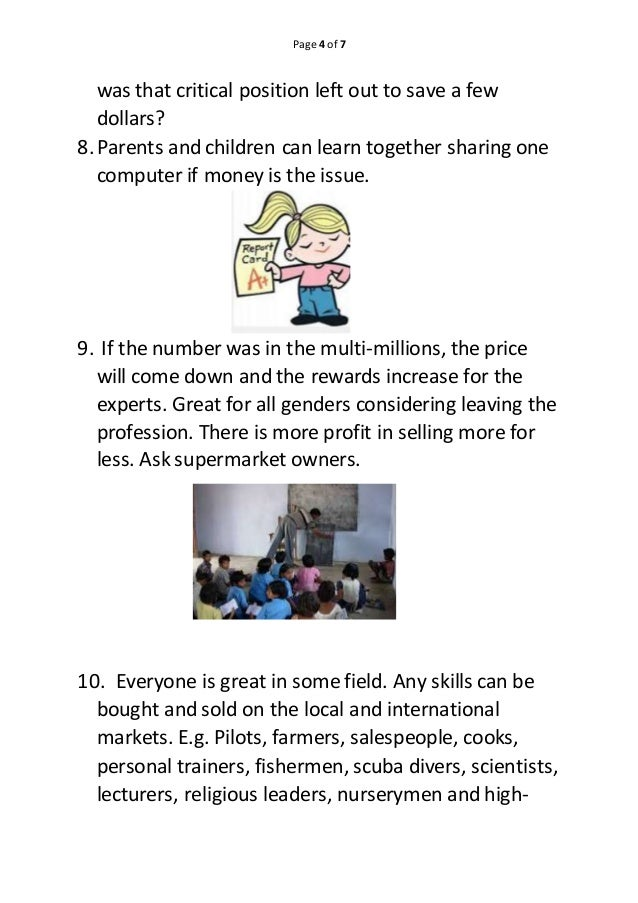 Page 4 of 7 was that critical position left out to save a few dollars? 8.Parents and children can learn together sharing o...