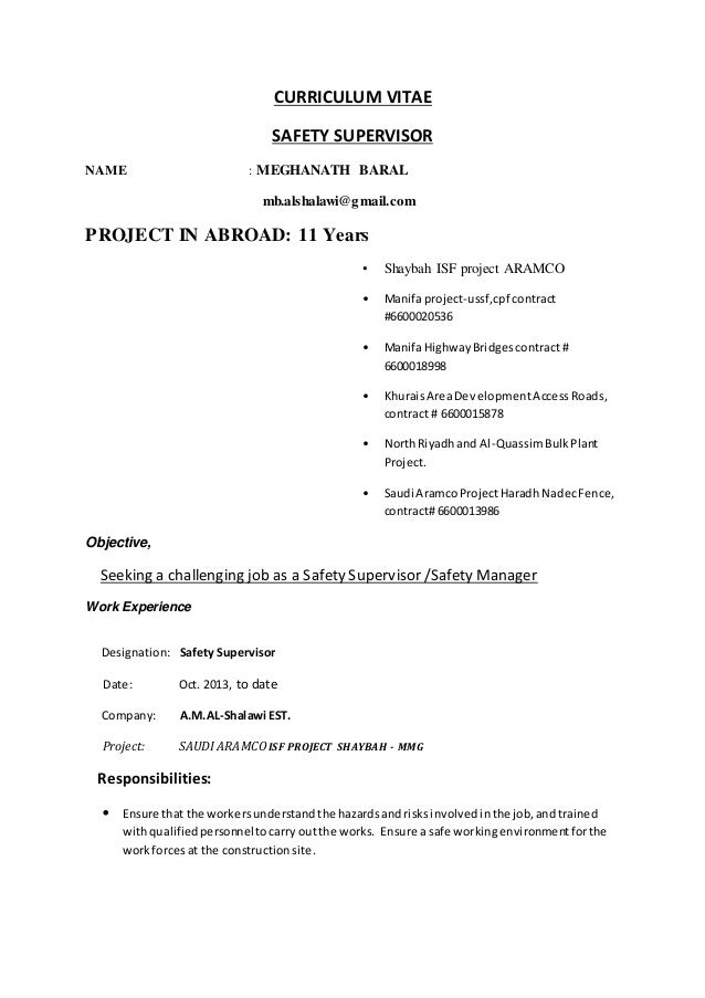 cv of safety supervisor