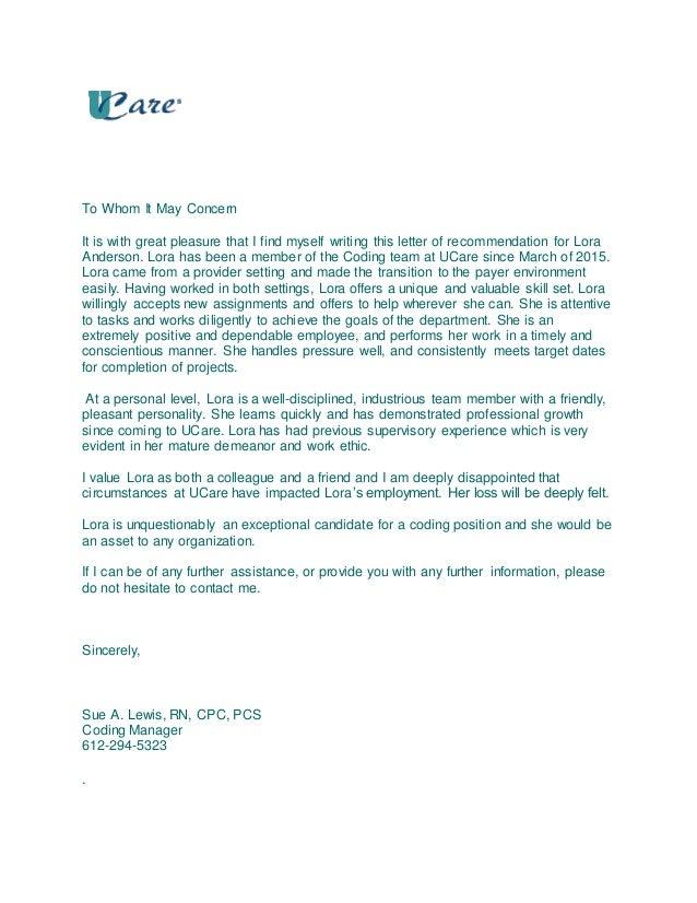 letter of recommendation la