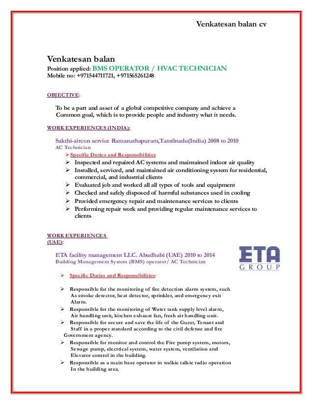 Venkatesan balan cv Venkatesan balan Position applied: BMS OPERATOR / HVAC TECHNICIAN Mobile no: +971544711721, +971565261...