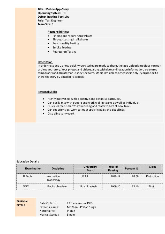 Project 4: 3. Title: Mobile ...  Mobile Testing Resume
