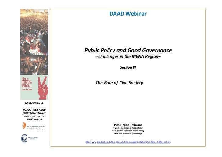 DAAD Webinar                                Public Policy and Good Governance                             ...