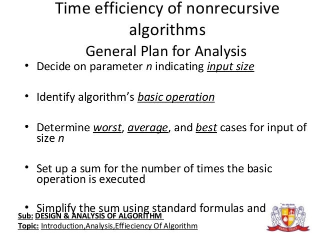 analysis of algorithms and orders of Selection and order statistics  to finish the description of the algorithm and its analysis, we need to choose m if we make m too large, the o(m) term will .