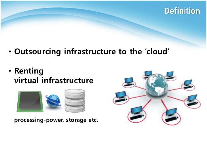 """Definition• Outsourcing infrastructure to the """"cloud""""• Renting  virtual infrastructure processing-power, storage etc."""