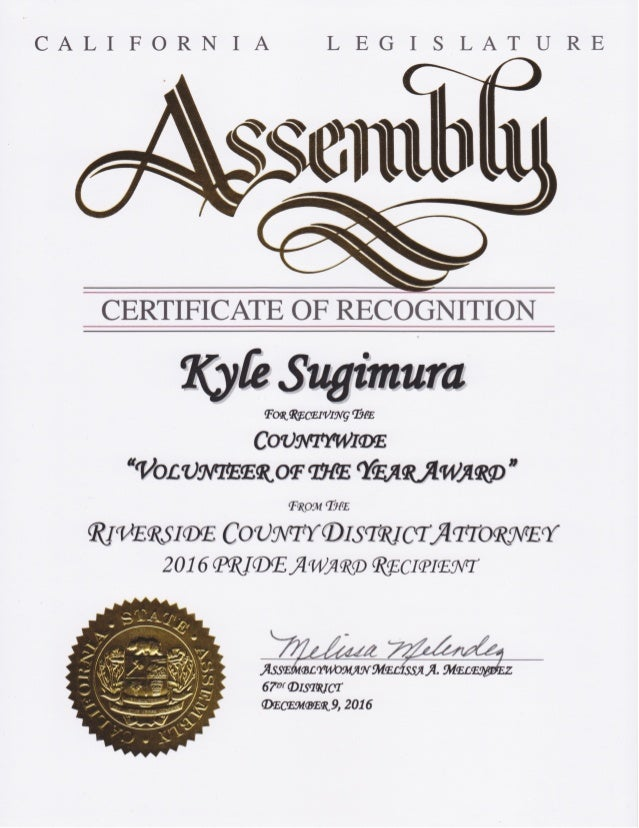 California Legislature Assembly – Certificate of Recognition for Kyle Sugimura