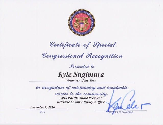 United States Congress – Certificate of Special Congressional Recognition to Kyle Sugimura