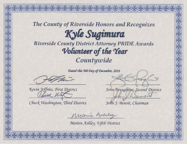 The County of Riverside Honors and Recognizes Kyle Sugimura