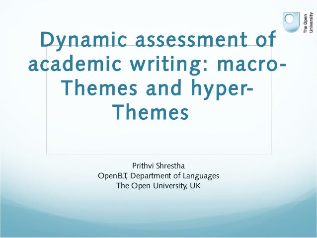 Dynamic assessment of academic writing: macro- Themes and hyper- Themes Prithvi Shrestha OpenELT, Department of Languages ...