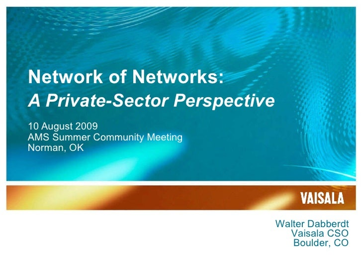 Network of Networks: A Private-Sector Perspective 10 August 2009 AMS Summer Community Meeting Norman, OK Walter Dabberdt V...