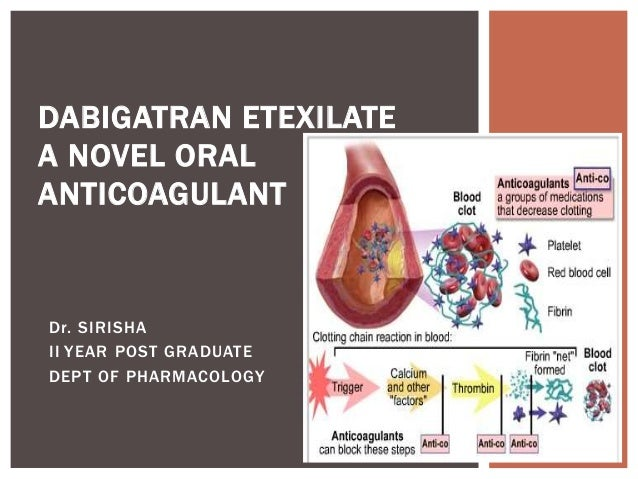 Dr. SIRISHA II YEAR POST GRADUATE DEPT OF PHARMACOLOGY DABIGATRAN ETEXILATE A NOVEL ORAL ANTICOAGULANT