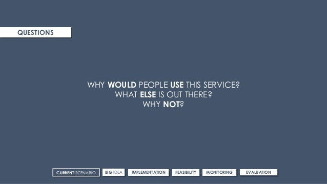 QUESTIONS WHY WOULD PEOPLE USE THIS SERVICE? WHAT ELSE IS OUT THERE? WHY NOT? CURRENT SCENARIO IMPLEMENTATIONBIG IDEA FEAS...