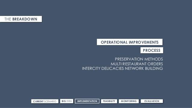 CURRENT SCENARIO IMPLEMENTATIONBIG IDEA FEASIBILITY MONITORING EVALUATION THE BREAKDOWN OPERATIONAL IMPROVEMENTS PRESERVAT...