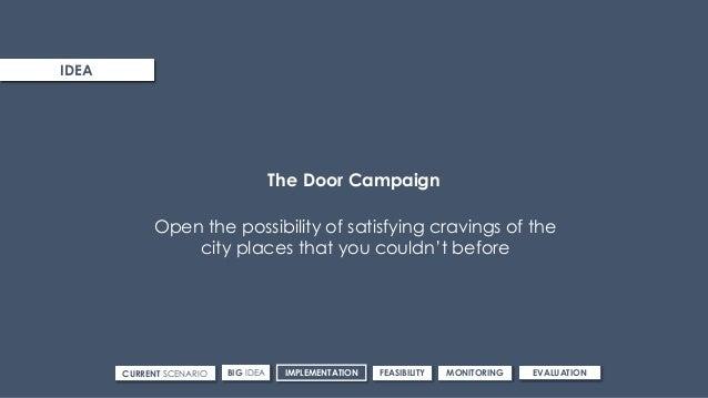 ROUTE 3IDEA CURRENT SCENARIO IMPLEMENTATIONBIG IDEA FEASIBILITY MONITORING EVALUATION The Door Campaign Open the possibili...