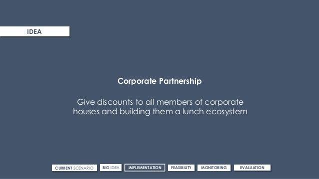 ROUTE 3IDEA CURRENT SCENARIO IMPLEMENTATIONBIG IDEA FEASIBILITY MONITORING EVALUATION Corporate Partnership Give discounts...